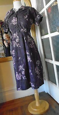 vintage purple cotton print day dress late 40s early 50s M/L