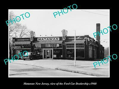 OLD LARGE HISTORIC PHOTO OF MATAWAN NEW JERSEY, THE FORD CAR DEALERSHIP c1960