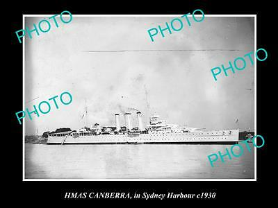 OLD LARGE HISTORIC PHOTO OF HMAS CANBERRA IN SYDNEY c1930, AUSTRALIAN NAVY
