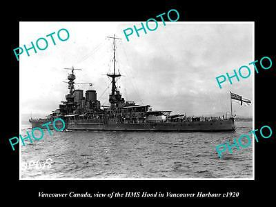 OLD LARGE HISTORIC PHOTO OF VANCOUVER CANADA, THE HMS HOOD IN THE HARBOUR c1920