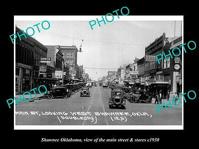OLD LARGE HISTORIC PHOTO OF SHAWNEE OKLAHOMA, THE MAIN STREET & STORES c1930