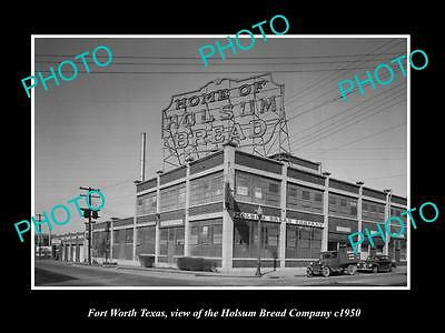 OLD LARGE HISTORIC PHOTO OF FORT WORTH TEXAS, THE HOLSUM BREAD COMPANY c1950