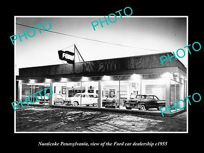 OLD LARGE HISTORIC PHOTO OF NANTICOKE PENNSYLVANIA FORD CAR DEALERSHIP c1955