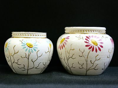 Pair Antique Hand Painted Small Vases