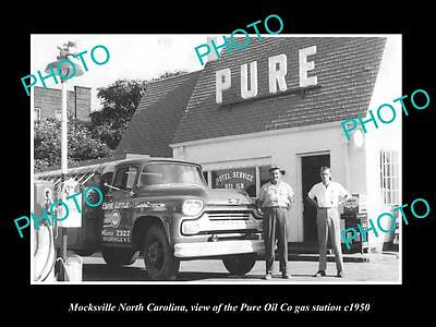 Old Large Historic Photo Of Mocksville North Carolina, Pure Oil Gas Station 1950