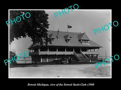 OLD LARGE HISTORIC PHOTO OF DETROIT MICHIGAN, THE DETROIT YACHT CLUB HOUSE c1900