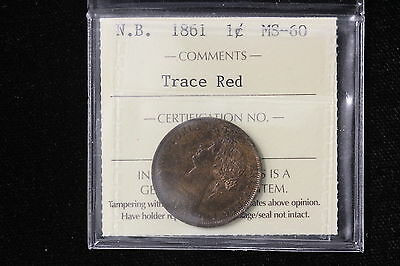 1861 Canada / New Brunswick. One Cent. ICCS Graded MS-60 TR. (XOL520)