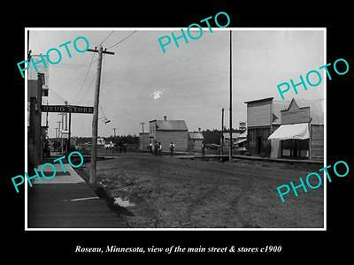 OLD LARGE HISTORIC PHOTO OF ROSEAU MINNESOTA, THE MAIN St & DRUG STORE c1900