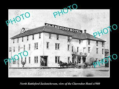 OLD LARGE HISTORIC PHOTO OF NORTH BATTLEFORD SASKATCHEWAN CLARENDON HOTEL c1900
