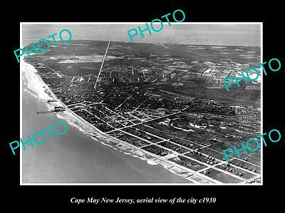 OLD LARGE HISTORIC PHOTO OF CAPE MAY NEW JERSEY, AERIAL VIEW OF THE CITY c1930 3