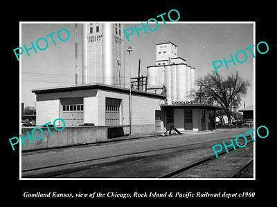 OLD LARGE HISTORIC PHOTO OF GOODLAND KANSAS, THE CRI&P RAILROAD DEPOT c1960