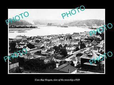 OLD LARGE HISTORIC PHOTO OF COOS BAY OREGON, VIEW OF THE TOWNSHIP c1920