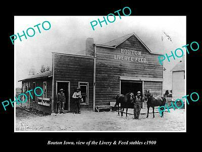 OLD LARGE HISTORIC PHOTO OF BOUTON IOWA, VIEW OF THE LIVERY FEED STABLE c1900