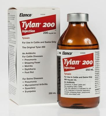 Tylan 200 250ml Injectable Antibiotic for Beef Cattle Dairy Cattle Swine Elanco
