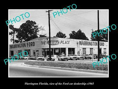 OLD LARGE HISTORIC PHOTO OF WARRINGTON FLORIDA, THE FORD CAR DEALERSHIP c1965