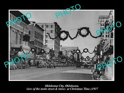OLD LARGE HISTORIC PHOTO OF OKLAHOMA CITY, THE MAIN STREET & STORES, XMAS c1937