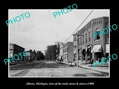 OLD LARGE HISTORIC PHOTO OF ATHENS MICHIGAN, THE MAIN STREET & STORES c1900