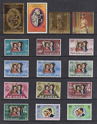 COLLECTION  OF UK ROYAL ISSUE STAMPS , UM/M , 2 22ct GOLD STAMPS , 2  SCANS