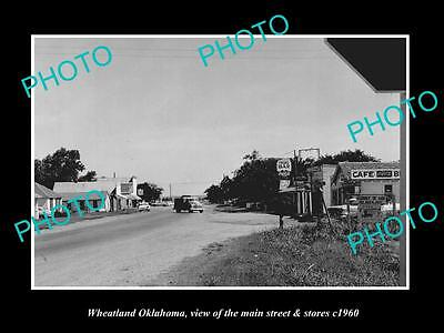 OLD LARGE HISTORIC PHOTO OF WHEATLAND OKLAHOMA, THE MAIN STREET & STORES c1960
