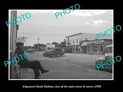 OLD LARGE HISTORIC PHOTO OF EDGEMONT SOUTH DAKOTA, THE MAIN St & STORES c1950