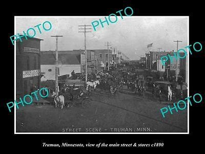OLD LARGE HISTORIC PHOTO OF TRUMAN MINNESOTA, THE MAIN St & STORES c1890