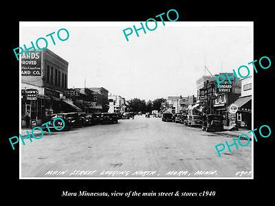 OLD LARGE HISTORIC PHOTO OF MORA MINNESOTA, THE MAIN STREET & STORES c1940