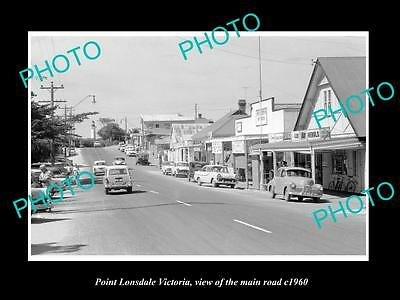 OLD LARGE HISTORIC PHOTO OF POINT LONSDALE VICTORIA, THE MAIN ROAD & SHOPS c1960