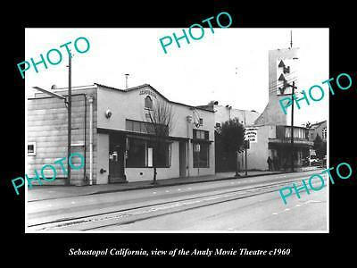 OLD LARGE HISTORIC PHOTO OF SEBASTOPOL CALIFORNIA, THE ANALY MOVIE THEATER c1960