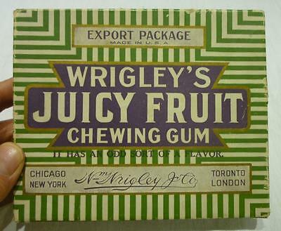 Vintage Export Package Made in U.S.A. Wrigley's Juicy Fruit Gum Empty Box.