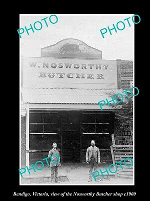 OLD LARGE HISTORIC PHOTO OF BENDIGO VICTORIA, THE NOSWORTHY BUTCHER SHOP c1900