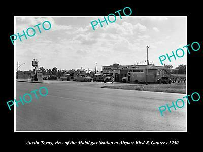OLD LARGE HISTORIC PHOTO OF AUSTIN TEXAS, THE MOBIL OIL GAS STATION c1950