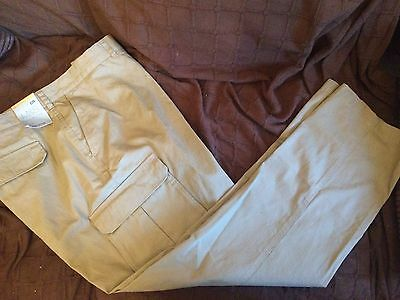 "Mens stone combat trousers size 44"" W 31"" L cotton NEW smart casual work pockets"