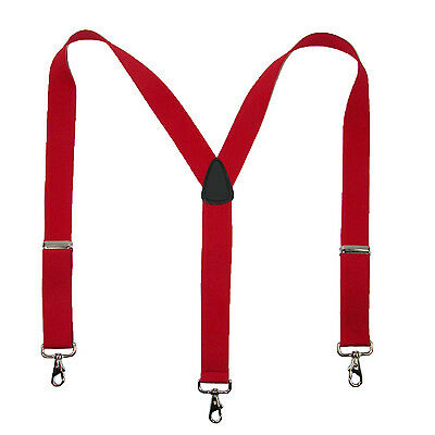New MTL Men's Elastic Suspender with Metal Swivel Hook Clip End, USA Made, Red