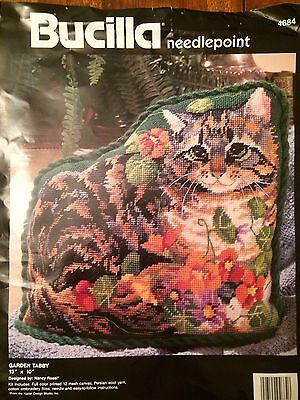 Garden Tabby Pillow Needlepoint Kit Adorable and Unworked 13x10 inches N Rossi