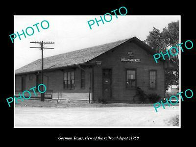 OLD LARGE HISTORIC PHOTO OF GORMAN TEXAS, THE MKT RAILROAD DEPOT STATION c1950