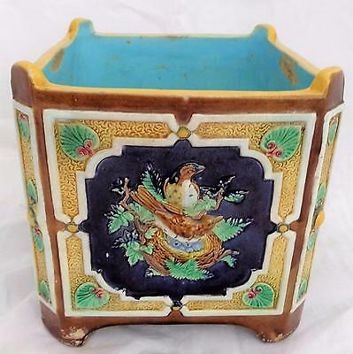 Antique Joseph Holdcroft Majolica Jardiniere or Planter Nesting Birds c 1860 -70
