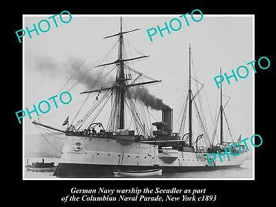 OLD LARGE HISTORIC PHOTO OF GERMAN NAVY WARSHIP, THE SEEADLER c1893, NEW YORK