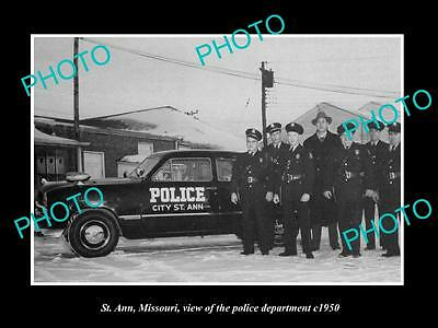 OLD LARGE HISTORIC PHOTO OF St ANN MISSOURI, THE POLICE DEPARTMENT CREW c1950