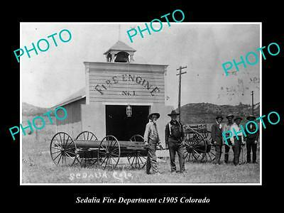 OLD LARGE HISTORIC PHOTO OF SEDALIA FIRE DEPARTMENT STATION, COLORADO c1905