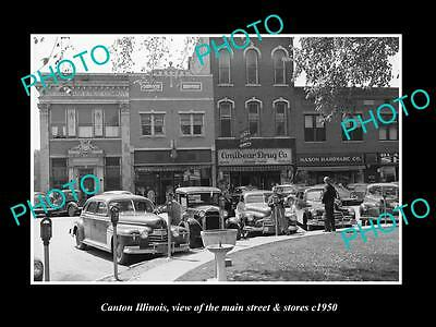 OLD LARGE HISTORIC PHOTO OF CANTON ILLINOIS, VIEW OF THE MAIN St & STORES 1950 2