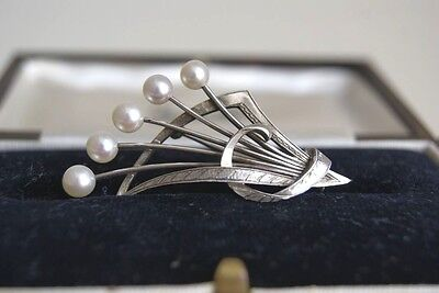 Fine Large Vintage Mikimoto Sterling Silver Cultured Pearl Brooch 5 X 3 Cm 6.5 G