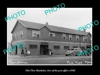 OLD LARGE HISTORIC PHOTO OF FLIN FLON MANITOBA, VIEW OF THE POST OFFICE c1940