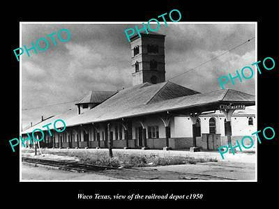 OLD LARGE HISTORIC PHOTO OF WACO TEXAS, THE RAILROAD DEPOT STATION c1950