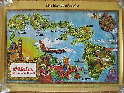 Vintage Islands of Aloha Airlines Poster Hawaii Transportation Travel 1970's(?)