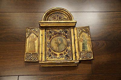 Antique Vintage Traveling Shrine Religious Alter Wooden Collectible