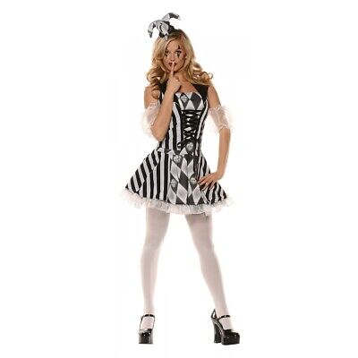 Harlequin Costume Adult Female Jester Halloween Fancy Dress