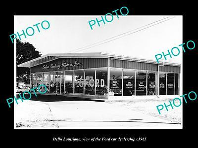 Old Large Historic Photo Of Delhi Louisiana, The Ford Motors Car Dealership 1965