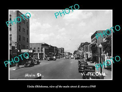 OLD LARGE HISTORIC PHOTO OF VINITA OKLAHOMA, THE MAIN STREET & STORES c1940 1