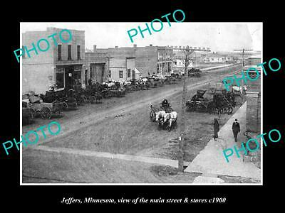 OLD LARGE HISTORIC PHOTO OF JEFFERS MINNESOTA, THE MAIN STREET & STORES c1900