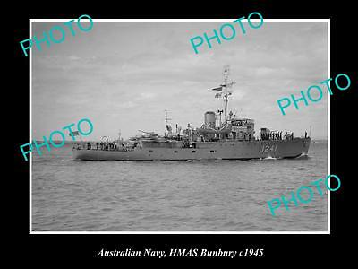 OLD LARGE HISTORIC PHOTO OF AUSTRALIAN NAVY SHIP, HMAS BUNBURY c1945